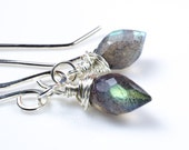 Labradorite Gemstone Marquise Sterling Silver Earrings