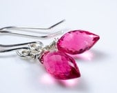 Rubelite Faceted Quartz Marquise Silver Earrings