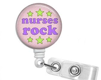 NURSES ROCK Retractable Badge Reel