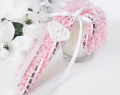 Pink Lace Candy Cane Holder with Crochet Heart Charm, Crochet Candy Cane Valentine's Gift Topper, Victorian Inspired Candy Cane Decoration