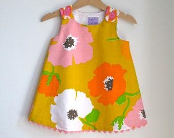 Baby Girls Dress, Poppy Bright Bohemian Dress, Girls Dress, Floral Dress, Summer Dress, Orange & Pink Dress, Baby Dress,  Size 6 - 12 Months