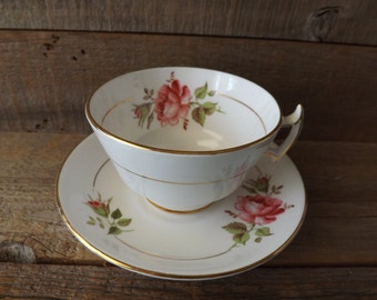 Teacup and Saucer, Coffee Cup, Rose Teacup, Bone China, Phoenix China, Made in England, Shabby Table, Tea Party