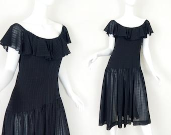 Vintage 80s Witchy Black Ruffled Neckline Women's Dress - Goth Valley Girl Drop Waisted Sheer Skirt Midi Dress - Size Medium 8