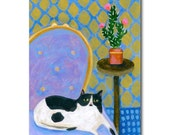 ORIGINAL  acrylic painting The LAVENDER Chair with Tuxedo CAT folk art on wood by Tascha