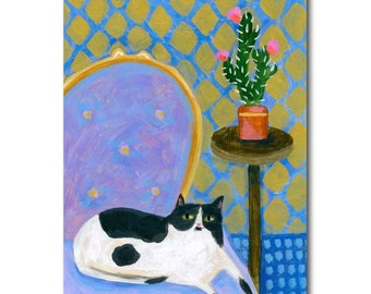 Black and White Cat painting LAVENDER Chair with Tuxedo CAT folk art on wood by Tascha