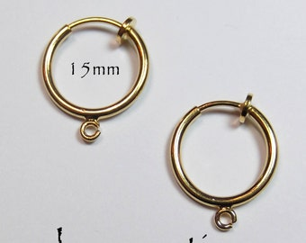 Hoop Earrings 15mm Non-Pierced Gold Plated Brass with Loop - 1 pair