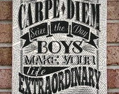 Carpe Diem, Seize the Day Boys, Make Your Life Extraordinary: Robin Williams, Dead Poets Society, Quote Canvas Wall Art