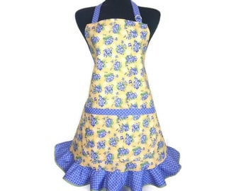 Purple and yellow flower apron for women, Adjustable with retro style ruffle, Pockets, Floral kitchen decor