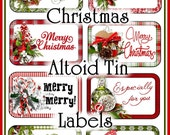 Christmas Greetings Altoid Tin Labels Set Printable Gifts INSTANT DOWNLOAD Digital Traditional Red and Green