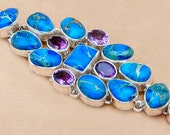 Sale: Amethyst and Blue Stone Sterling Silver Bracelet