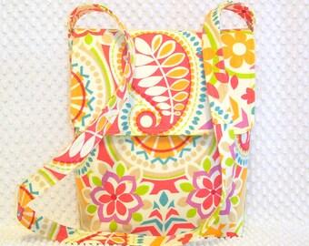 Crossbody Messenger Bag Purse - Shoulder Bag - Hobo Bag - Ladies Handmade Pink and Orange Euro Paisley Floral Fabric Crossbody Handbag Purse