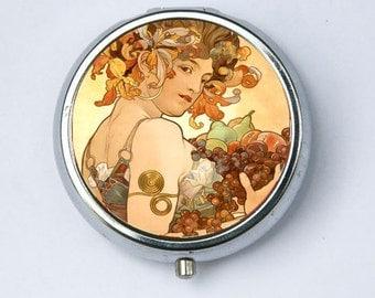 Art Nouveau Fruit PILL CASE pillbox pill holder mucha
