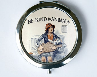 Be Kind To Animals Compact Mirror Pocket Mirror dogs