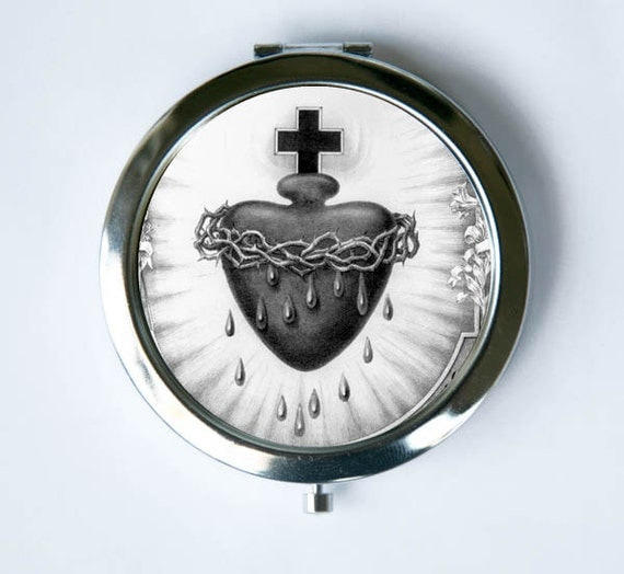 Sacred Heart Black And White Compact Mirror Pocket Mirror