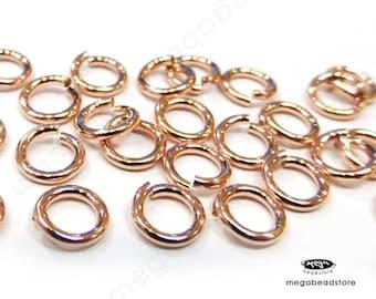 25 pcs 5.8mm 18 Gauge 14K Rose Gold Filled Jump Rings Open Connectors F29RGF