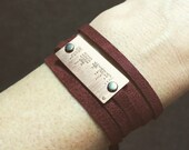 CUSTOM Morse code bracelet | etched copper | etched brass | leather wrap bracelet | gift for him or her | personalized bracelet