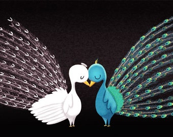 """Peacock Love card, Peacock Wedding, Birds in love, blank greeting card - """"I love our differences"""""""