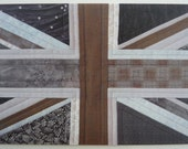 Printed Art Card - London Fog - Grey / Gray Patchwork Union Jack Detail