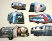Retro Campers - Collection of 6 Laser Cut Wood Craft Pieces
