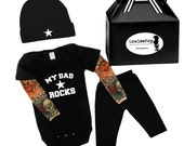 My Dad Rocks Rockstar Baby Gift Set - black onesie with tattoo sleeves, Pants, Hat and gift box