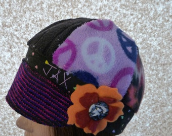 Toddler sized Crazy colors purple, pink and multicolor recycled sweaters with peace signs Jax Hat