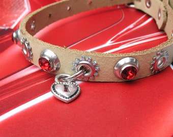 Khaki Leather Dog Collar with Silver Heart Lock Charm and Rhinestones, Size XS/S to fit a 8-11 Neck, Unique OOAK