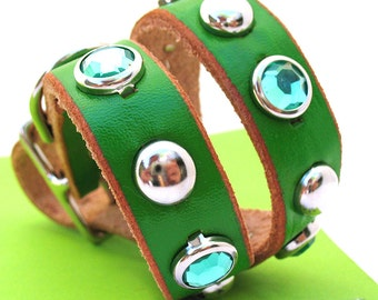 Green Leather Dog Collar with Sparkles and Studs, Size S/M, to fit a 12-15in Neck, EcoFriendly