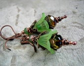 Woodland Nymph Earrings, Green Fairy Flowers, Faery Couture, Lightweight Earrings, Coppery Filigree, Fairy Duster, Elksong Jewelry