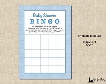 Baby Boy Shower Shower Bingo Game- 5x7 - Plaid Blue Boy - Instant Download - Printable Digital Template PDF