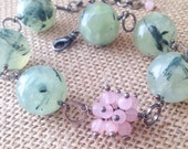 Green and Pink, Genuine Stone, Prehnite and Rose Quartz Bracelet