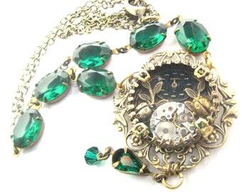 Ladybugs Under Glass   ... Steampunk Under Glass  Victorian Ladybug Vintage Glass Necklace, One of a Kind