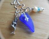 Genuine Sea Glass Jewelry - Beach Glass Cluster Necklace - ARIEL