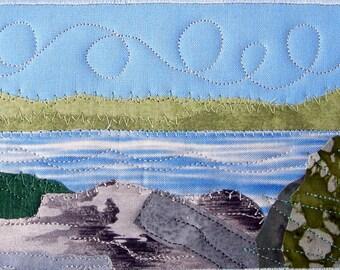 Postcard Art, Lake Quilted Postcard, Blue Water, Lake Landscape, Greeting Card, Nature Art