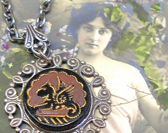 Gryphon Antique BUTTON necklace, Victorian black glass Griffin on silver chain. Antique button jewellery.
