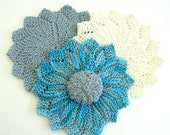 Cotton Wash Cloths - Set of Three Handknit Wash Cloths - Choice of Wash Cloth Set Flat only or with Scrubbie/Soap Holder