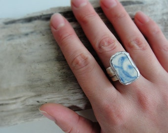 Blue Beach Pottery Ring Sea Tumbled Pottery Floral
