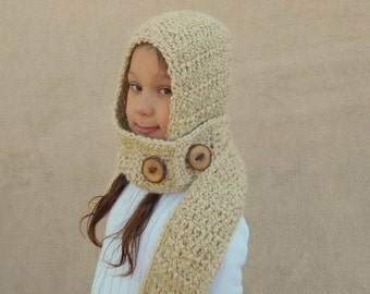 Little Red Riding Hood -  Cream Hood, Ivory Crochet Costume, Woodland Hat, Soft Scarf, Scood