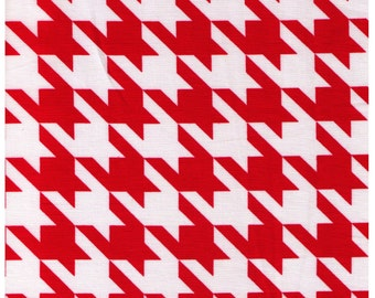 HALF YARD - Cosmo Textiles, Japanese Import, Red and White Houndstooth