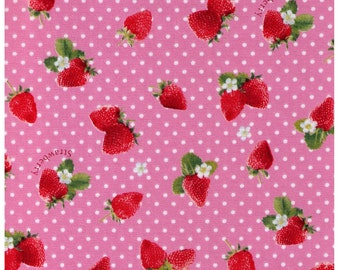 HALF YARD - Kawaii Strawberries on PINK with White Polka Dots -  White Flowers, Sweets, Daisies, Leaves - Cosmo Textile Imported Japanese
