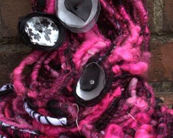 Handspun Art Yarn- Poodle Skirt- Signature Jazztutle TextureSpun Artisan Yarn
