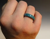 One Teal Glass Rings Hand Sculpted by Jenn Goodale