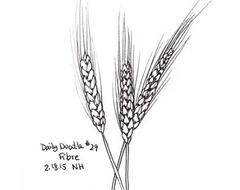 No.29 Fibre / Original Artwork / Illustration / Daily Doodle / Black and White Drawing of Wheat / Harvesting Wheat