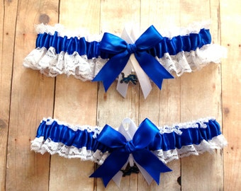 Detroit Lions Wedding Garter Set with charms   Lace   Handmade    keepsake and toss RWRG