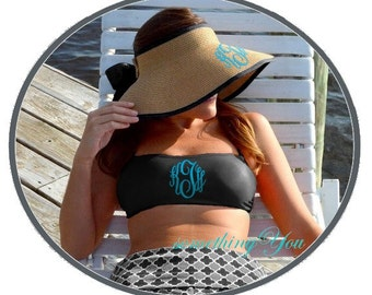 SALE - Monogrammed Bandeau Swimsuit Top - Brides Gift Idea, Honeymoon Swim Top, Personalized Swimsuits, Personalized Bathing Suit Top