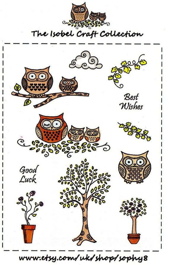 A6 set of photo-polymer clear stamps - OWL DESIGN