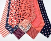 Men's Neckties in Coral and Navy Wedding Neckties Summer Wedding Beach Wedding Nautical Ties