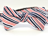Boy's Bow Tie in Coral and Navy Striped Cotton Baby Toddler Boy Tween Teen Bowtie