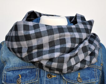 Gray and Black Buffalo Plaid Infinity Scarf, Flannel Infinity Scarf, Christmas Scarf, Plaid Infinity Scarf