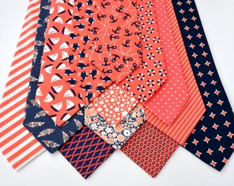 Men's Neckties in Coral and Navy Wedding Neckties Summer Wedding Beach Wedding Nautical Ties