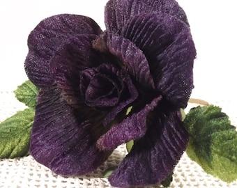"""New Velvet Rose Purple 3"""" Green Velvet Leaves Millinery Flower Crown Wedding Crafts"""